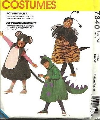 McCalls 7340 Childrens Pot Belly Mouse Pumpkin Train Lion Dinosaur Bee Costumes Sewing Pattern Size Small 3-4]()