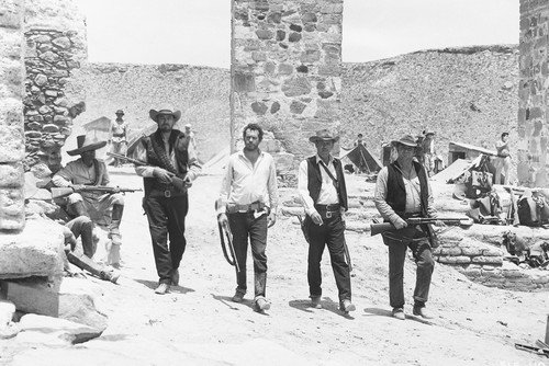 Ernest Borgnine, William Holden, Ben Johnson and Warren Oates in The Wild Bunch 24x36 Poster classic walking down Mexican street - Mexican Real Photo