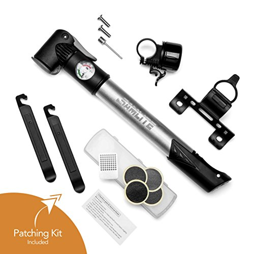 SAMLITE - Best handheld Mini Bike Pump with Glue-less Puncture Repair Kit, Fits Presta and Schrader Valve, Includes Mount Kit, High Pressure 120 PSI, 8 bar, FREE Bike Bell and Sports Needle (120 Psi Pocket)