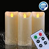 "Tools & Hardware : Homemory 3PCS 7"" 7"" 7"" waterproof Flameless Candles with Timer and Remote Control,Battery Operated Flickering LED Candles,Realistic Fake Candle,Amber yellow, votive, Weddings, Festivals Decorations"