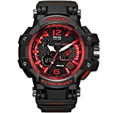 Richermall SMAEL Men's Sport Military Watch Dual Display Analog Digital Watch 50M Waterproof with Backlight for Sports Swimming (red)