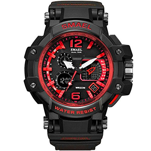 Richermall SMAEL Men's Sport Military Watch Dual Display Analog Digital Watch 50M Waterproof with Backlight for Sports Swimming (red) by Richermall