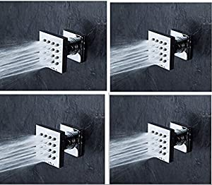 Homedec 4pieces Brass Construction Square Body Sprays Massage Spa Body Jets for Concealed Shower 60%OFF