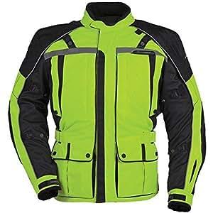 Tour Master Transition Series 3 Men's Textile Cruiser Motorcycle Jacket - Hi-Vis Yellow/Black / Medium