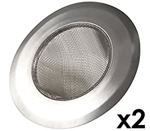 """Happy Sales HS5049-SS2, Stainless-Steel Kitchen Sink Strainer - Set of 2 - Large Wide Rim 4.25"""" Diameter - Perfect for Kitchen Sinks"""