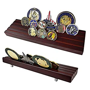 AtSKnSK Military Collectible Challenge Coin Display Holder Stand Holds 28-32 Coins (Large, 4 Rows) by Southkingze