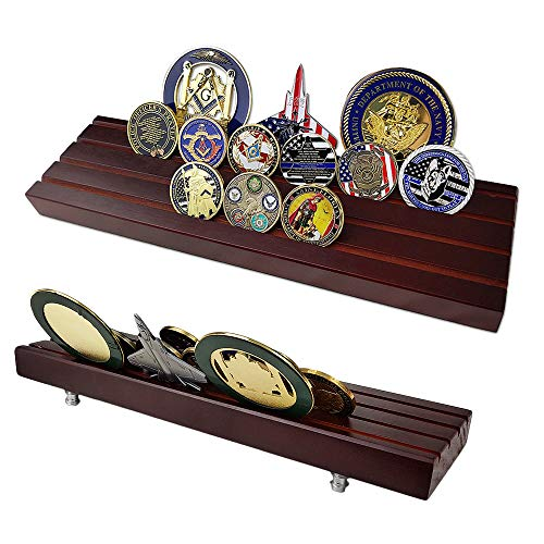 - AtSKnSK Military Collectible Challenge Coin Display Holder Stand Holds 28-32 Coins (Large, 4 Rows)