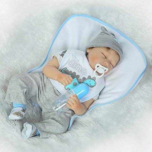 Sleeping Boy Reborn Baby Dolls Soft Vinyl Newborn Silicone Toys 22 Inches Magnet Dummy for Kids Children