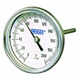 WIKA TI.30 Stainless Steel 304 Process Grade Resettable Bi-Metal Thermometer, 3'' Dial, 50/550 Degrees F, 12'' Stem, 1/2'' NPT Connection, Back Mount