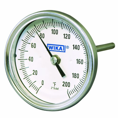 (WIKA TI.30 Stainless Steel 304 Process Grade Resettable Bi-Metal Thermometer, 3