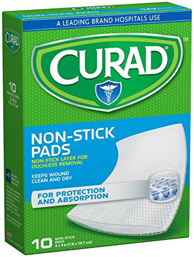 Curad Non-Stick Pads With Adhesive Tabs 3 Inches X 4 Inches 10 Each (Pack of 8) ()