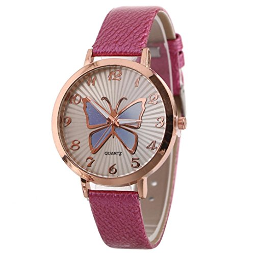 Women's Butterfly Watches Creative Pattern Quartz Watch Leather Strap Belt Table Watch (Hot Pink)