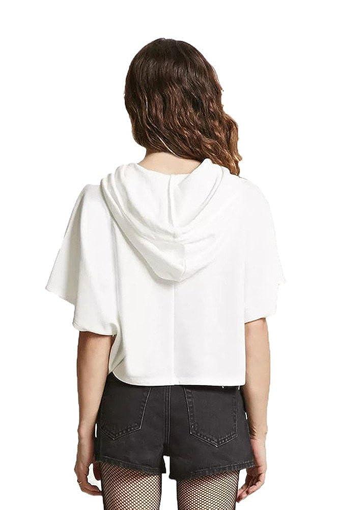 Womens Short Sleeve Hoodie Lightweight Crop Top Pullover Sweatshirt