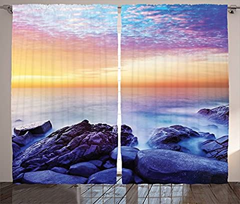 Seaside Decor Curtains 2 Panel Set Dream Sky with Rainbow Colors in the Morning Seascape Fantasy Imaginary Planet Photo Living Room Bedroom Decor Blue - Seaside Dreams Panel Bed