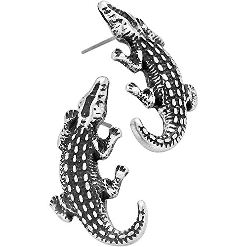 Plated Alligator (Liavy's Embossed Metal Alligator Crocodile Fashionable Earrings - Stud - Silver Plated)