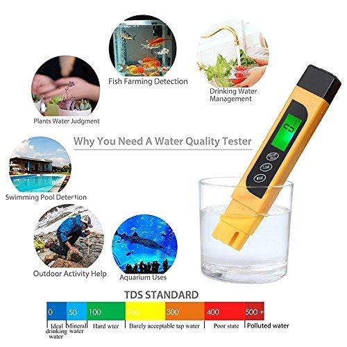 Kamtop Digital Water Quality Tester TDS EC Temperature Meter with Battery Leather Bag Range at 0-9990 with Color Change Function Water Purity Test PPM Test for Water Drink Aquarium Spas Hydroponics Et by Kamtop (Image #4)