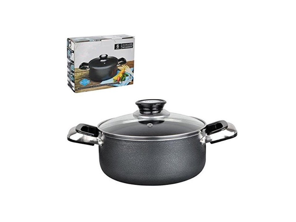 Home N Kitchenware Collection Aluminum Dutch Oven with Glass Lid, Non-stick Coating, Heavy Gauge (3.5mm), Anti Adherente, Gray (6 Quart)