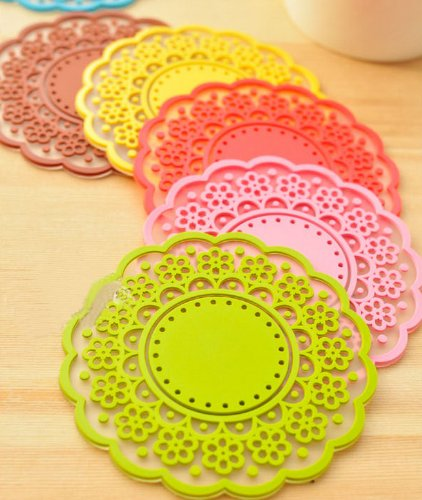 ONOR-Tech Set of 6 Lovely Cute Sweet Semitransparent Lace Cup Mat Silicone Rubber Coaster for Wine, Glass, Tea