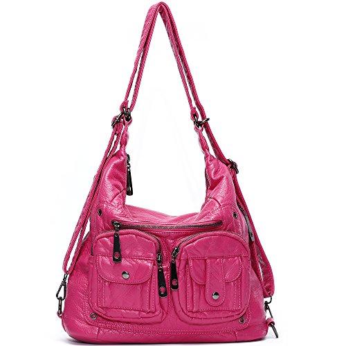 [Mlife Soft Washed Leather Women Shoulder Bag Hobo Backpack (Pink)] (Pink Soft Leather)