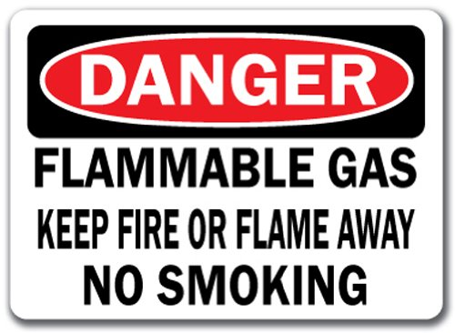 (Danger Sign - Flammable Gas Keep Fire Or Flame Away No Smoking - 10