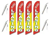 Four Full Sleeve Swooper Flags w/ Poles & Spikes NOW LEASING Red Yellow White Green