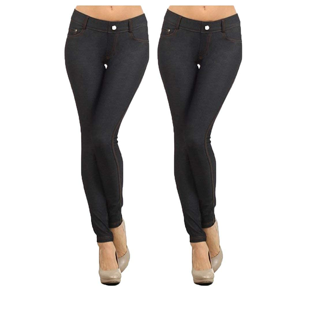 73f38f44e3233a Yelete Women's Basic Five Pocket Stretch Jegging Tights Pants at Amazon  Women's Clothing store:
