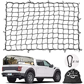 12 Adjustable Hooks for Rooftop Cargo Carrier Small 2x2 Mesh Holds Small and Large Loads Tighter UTV ATV Cargo Hitch 22x38 Super Duty Bungee Cargo Net Stretches to 44x76