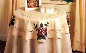 """Antique Rose Cutwork Tablecloth (Table Top) 36"""" Round"""