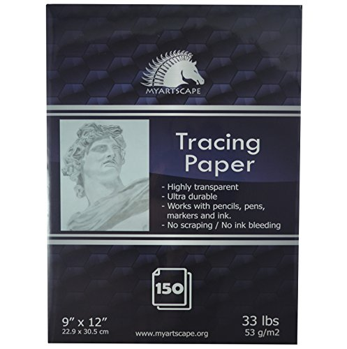 Tracing Paper Pad - 33lb - 9'' x 12'' - 150 Transparent Sheets - Artist Quality - MyArtscape by MyArtscape