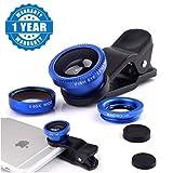 Raptas Blue Universal 3-In-1 Clip-On Fisheye + Wide Angle + Macro Lens for Xiaomi Mi, Apple, Samsung, Sony, Lenovo, Oppo, Vivo Smartphones