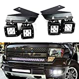 2013 ford raptor accessories - iJDMTOY LED Pod Light Fog Lamp Kit For 2010-14 Ford SVT Raptor, Includes (4) 20W High Power White CREE LED Cubes, Foglight Location Mounting Brackets & On/Off Switch Wiring Kit