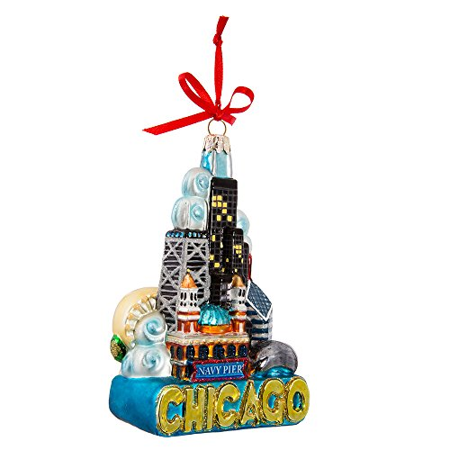(Kurt Adler Chicago Glass Ornament, 5-Inch)