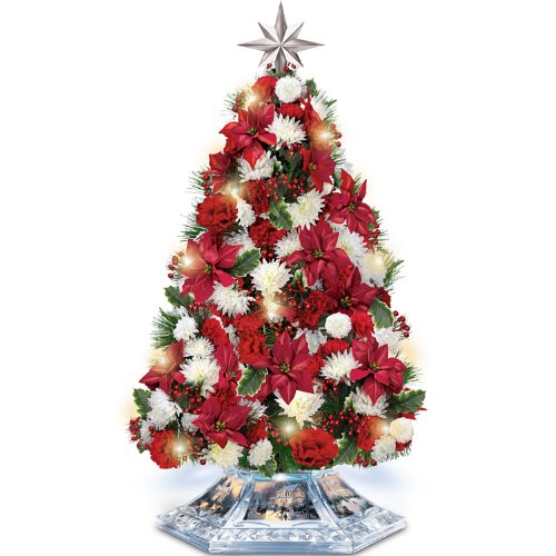 Tabletop Tree: Thomas Kinkade Home For The Holidays Tabletop Tree by The Bradford Exchange