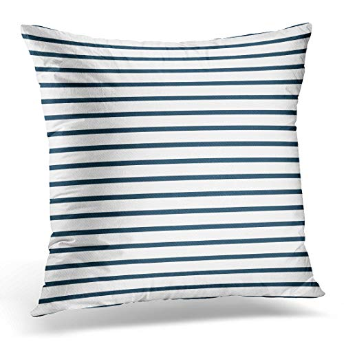 Emvency Throw Pillow Covers Case Colorful Stripe Thin Navy Blue and White Horizontal Striped That is and Repeats Narrow Decorative Pillowcase Cushion Cover for Sofa Bedroom Car 18 x 18 Inches