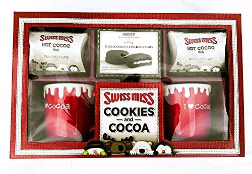 Swiss miss Hot Cocoa and Cookies Christmas Gift set - Chocolate Cacao Mix - Party, Birthdays, Holidays Present