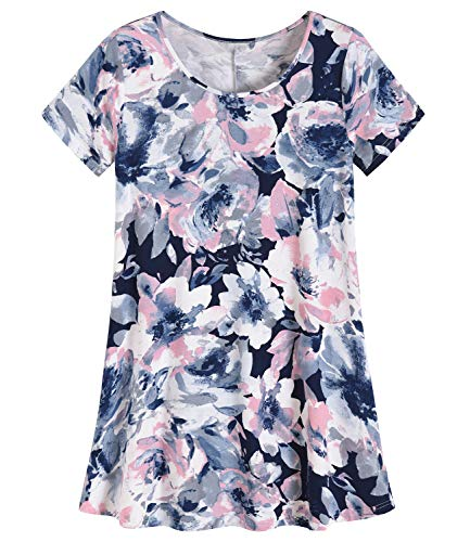 (Latuza Women's Plus Size Tunic Shirt Swing Tunic Top L Navy Peony)