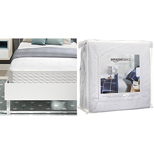 Signature Sleep Contour 8 Inch Reversible Independently Encased Coil Mattress with CertiPUR-US certified foam, Twin with AmazonBasics Hypoallergenic Vinyl-Free Waterproof Mattress Protector, Twin