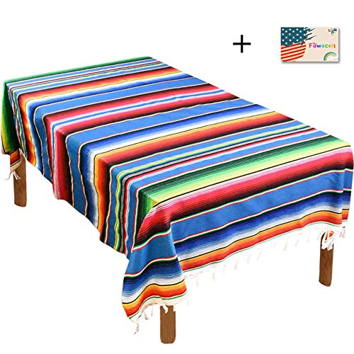 (Mexican Serape Blanket Tablecloth 59 x 84 Inch for Mexican Wedding Party Decorations Outdoor Picnics Dining Table, Large Square Fringe Cotton Table Cloth       )