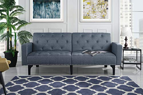 Modern Tufted Fabric Sleeper Sofa Bed with Nailhead Trim, Grey -