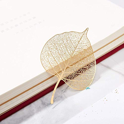 Tubeshine 18K Golded Plated Metal Bookmark, Delicate Leaf Bookmarks Unique Cool Ideal for Adults Kids Friends Family (Bodhi Leaves)