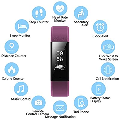 Fitness Tracker Activity Tracker with Heart Rate Monitor, Waterproof Fitness Activity Watch, Pedometer Sleep Monitor Calorie Counter GPS, Smart Bracelet Wristband for Kids Women Men
