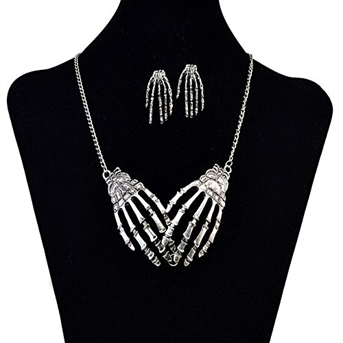 FXmimior Silver Skeleton Hand Shapped Halloween Gothic Necklet Rock Punk Accessories Women Girl (necklace& (Skeleton Halloween Hairstyles)