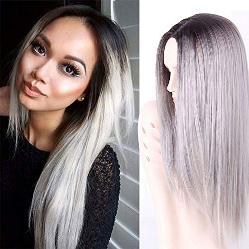 AISI HAIR Synthetic Long Straight Grey Ombre Wigs Middle Part Wig Dark Brown Roots Silver Grey Wig Ombre Heat Resistant Fiber Two Tone Full Wigs for Women -