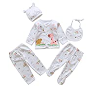 5pcs Newborn Baby Boy Girl Clothes Sets Unisex Infant Outfits with Animals (Pink)