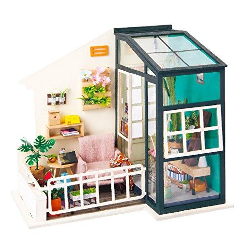 Rolife QLCRAFT DIY Balcony Miniature - Mini Doll House Model Kits to Build - Christmas Valentine's Birthday Gift for Girls