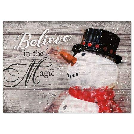 Snowman Believe Personalized Christmas Cards - Holiday Greeting Cards, Set of 18, Large 5