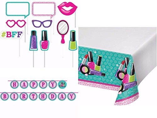 Spa Girl Birthday Party Decorations and Entertaining Pack Includes Table Cover, Banner and Photo Booth Props