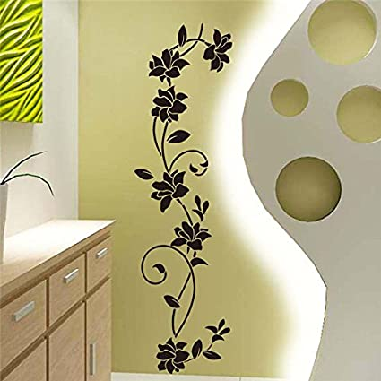 Buy Black flower Vine Wall Stickers Refrigerator Window cupboard ...