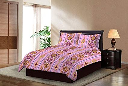 e1fbcd416 Image Unavailable. Image not available for. Colour  Bombay Dyeing Breeze  Beautiful and Elegant Pink Color Modern Print 140 TC Cotton Double Bedsheet  with
