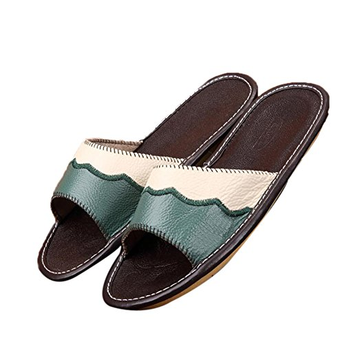 Floor Cowhide Smelly for Men Anti Summer Autumn W Wooden TELLW Cyan Slippers Women Leather Corium Spring wIxqz0U0A